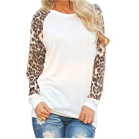 Comfy Hoodie Set - Women's Fashion Leopard Print Chiffon Long Sleeve Comfy Blouses