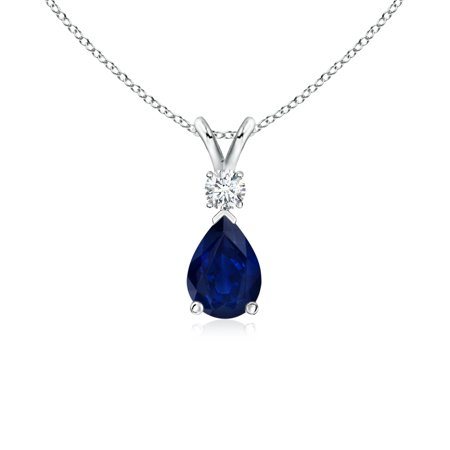 Mother's Day Jewelry - Blue Sapphire Teardrop Pendant with Diamond in 14K White Gold (7x5mm Blue Sapphire) - SP0169S-WG-AA-7x5