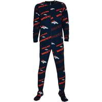 Denver Broncos Concepts Sport Women's Navy Keystone Fleece Union Sleep Suit