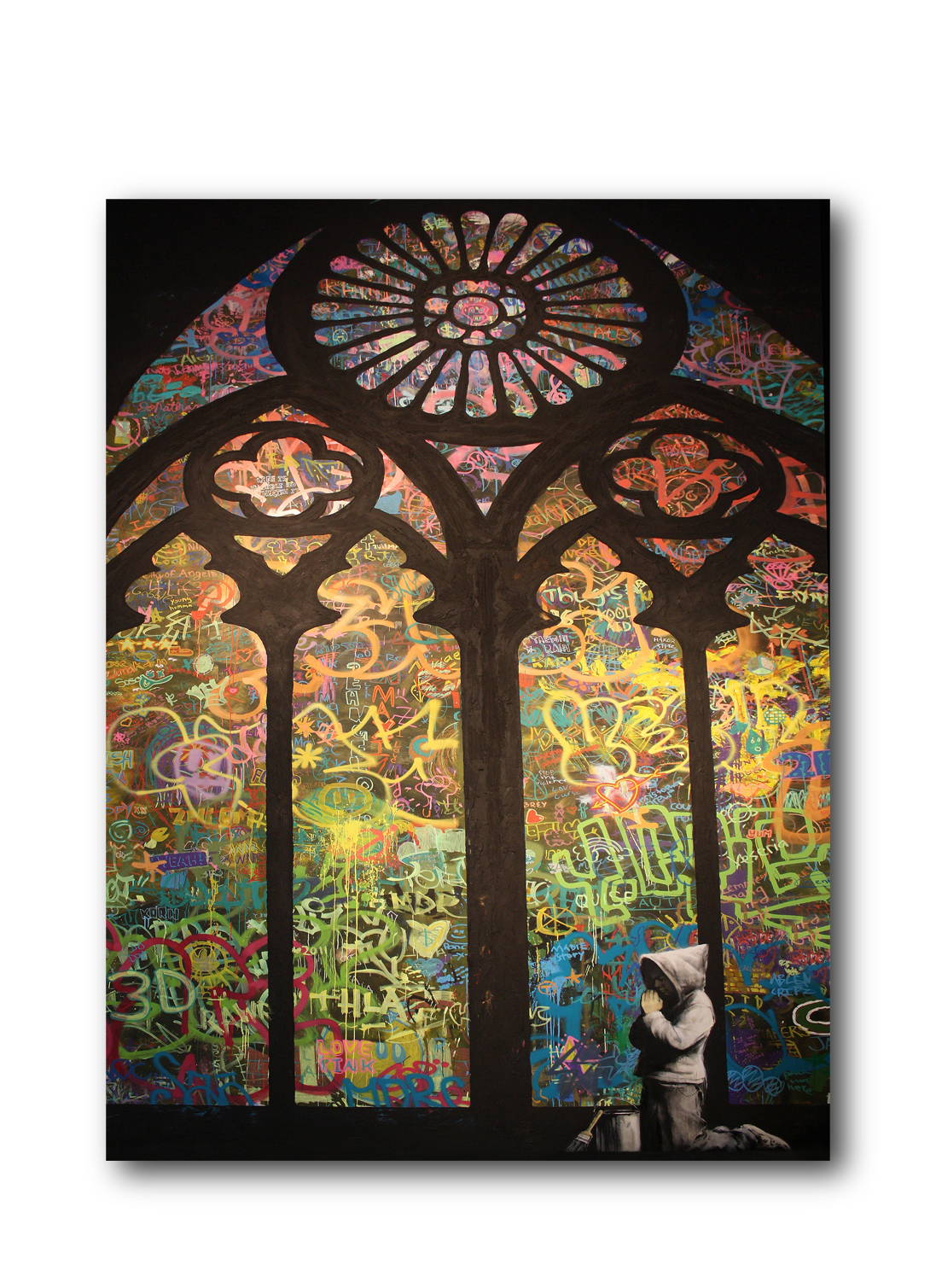 "Banksy Stained Glass Cathedral Brushed Aluminum Metal Print (14"" x 11"") by Pingotopia Inc."