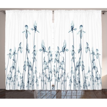 Xray Flower Decor Curtains 2 Panels Set, X-Ray Photo Of A Group Of Orchides Bottom To Top Rare Unseen Art In Complex Nature, Living Room Bedroom Accessories, By Ambesonne