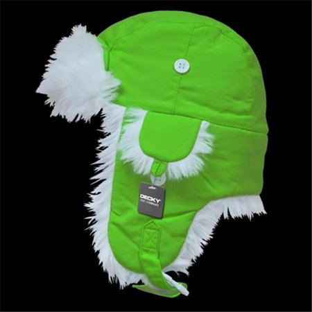 Decky 779-PL-NGR-07 White Synthetic Fur Aviator Hat- Neon Green - Large & Extra Large for $<!---->