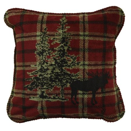 Denali Moose (Denali Throws Moose Plaid Border Throw Pillow )