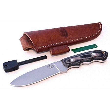 CFK Cutlery Company USA Micarta DEER ELK MOOSE Hunter Finger Grooved  Skinning Knife with Leather Sheath & Fire Starter Rod Set CFK115