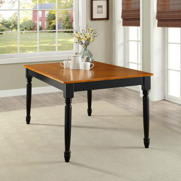 Better Homes And Gardens Autumn Lane Farmhouse Dining Table Black And Oak Walmart Com Walmart Com