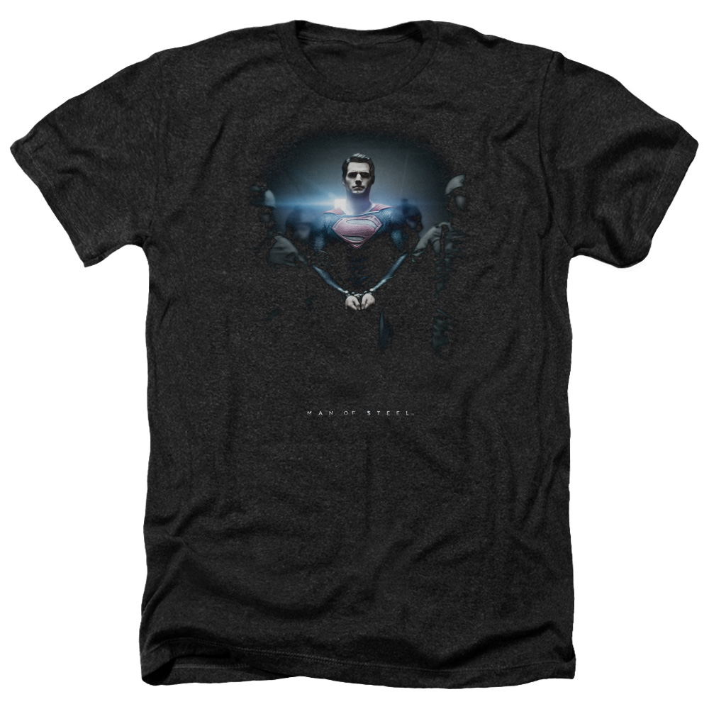 Man Of Steel Handcuffed Poster Mens Heather Shirt