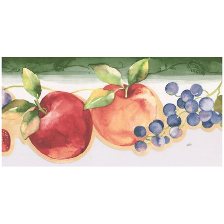 Prepasted Wallpaper Border - Red Apple Strawberry Deep Purple Grapes Plum Scalloped Wall Border Retro Design, Roll 15 ft. x 5 in.](Dc Comics Batman Wallpaper)