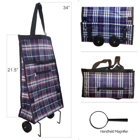 Shopping Grocery Folding Shopping Bag - Laundry Utility Cart with Wheel with Handheld Magnifier (Shopping Bags With Wheels)