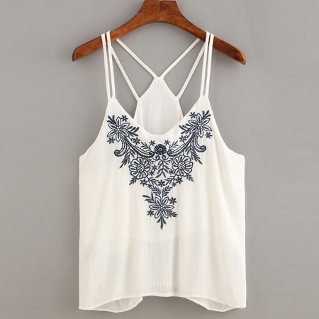 23fd913ac14e09 Women Tank Tops Flower Embroidered Strappy Cami Top S. Average rating 0out  of5stars