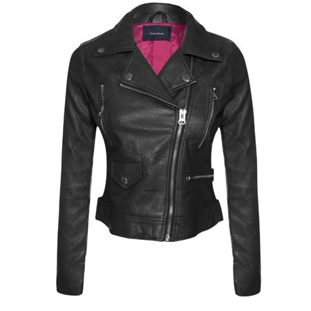 Made by Olivia Women's Long Sleeve Zipper Closure Moto Biker Faux Leather Jacket Black S (Womens Maroon Leather Jacket)