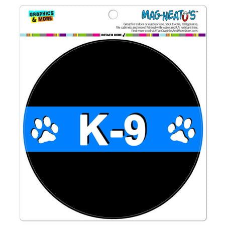 Unit Circle - Thin Blue Line K-9 Unit Paw Prints Police - Circle MAG-NEATO'S(TM) Car/Refrigerator Magnet