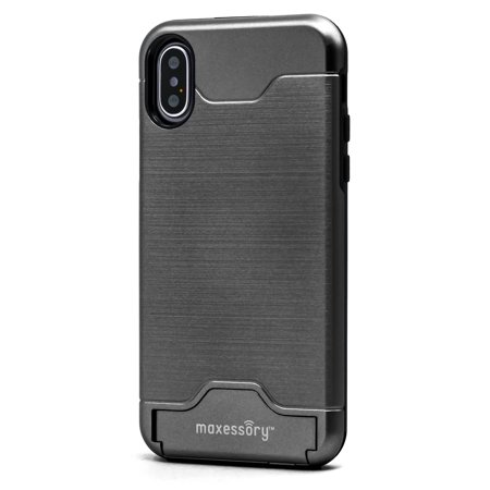 iPhone X Case, Maxessory Maestro Credit Card Holder Shock-Proof Kickstand Dual-Layer Shield Hybrid Matte Slim Premium Professional Shell Cover
