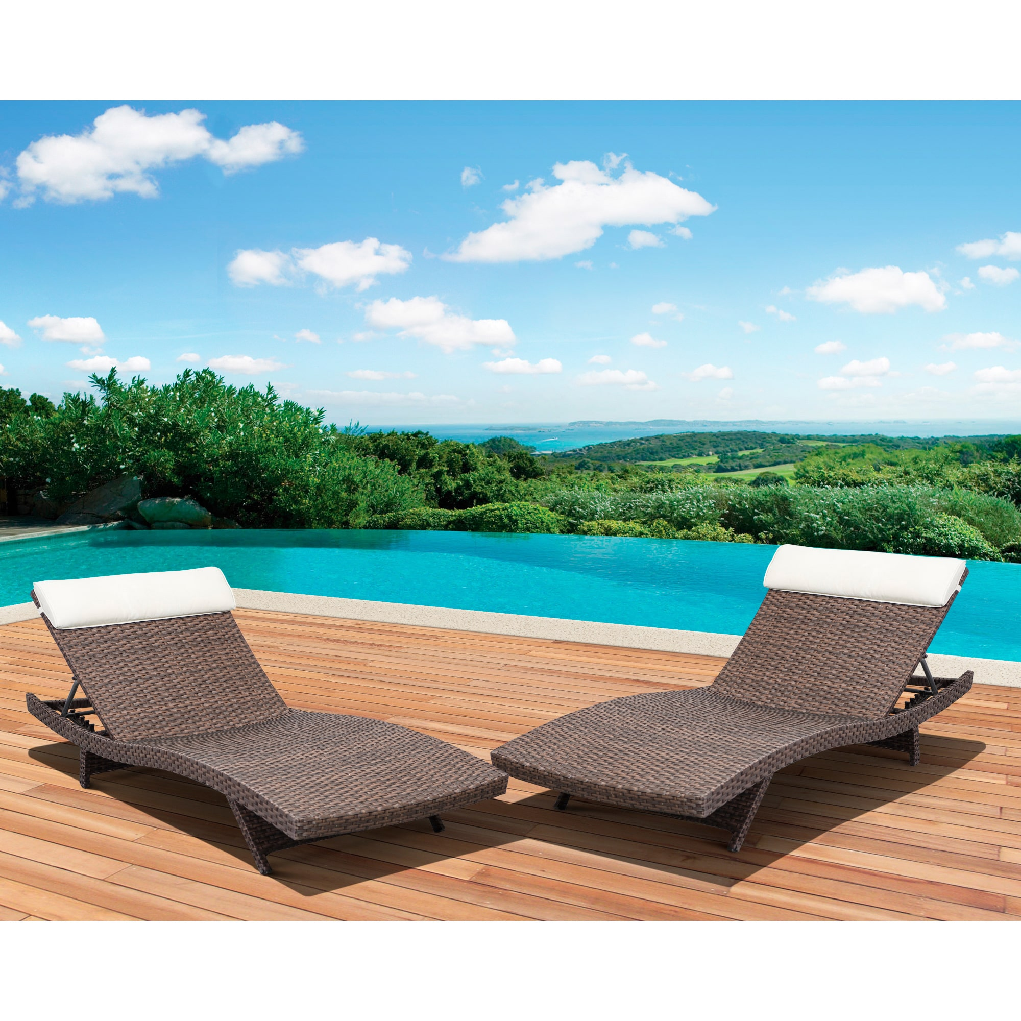 Atlantic Mykonos Deluxe Loungers Brown (Set of 2)