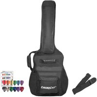 ChromaCast Acoustic Guitar Mini Jumbo Soft Case, Padded Gig Bag, Includes Strap & Picks