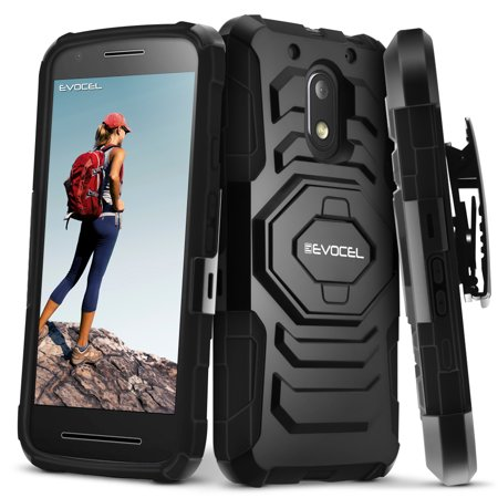 Moto G4 Play Case  Evocel  New Generation  Rugged Holster Dual Layer Case  Kickstand  Belt Swivel Clip  For Motorola Moto G4 Play   Moto E3  3Rd Gen   2016 Release    Black