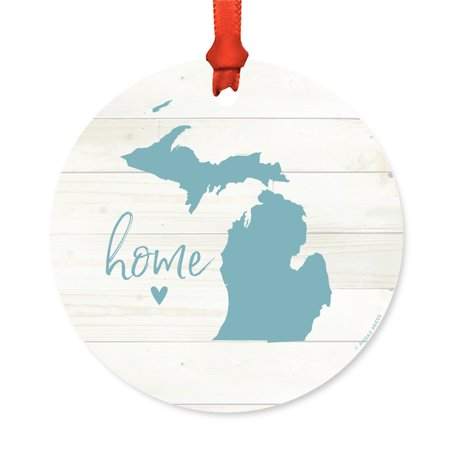 US State Round Metal Christmas Ornament, Rustic Light Wood Print, Michigan Home, Includes Ribbon and Gift Bag