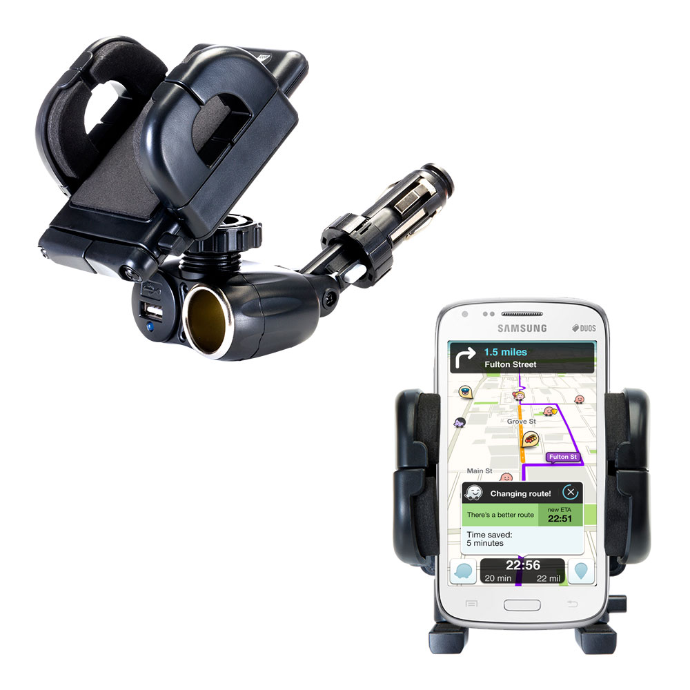 Dual USB / 12V Charger Car Cigarette Lighter Mount and Holder for the Samsung Galaxy Core