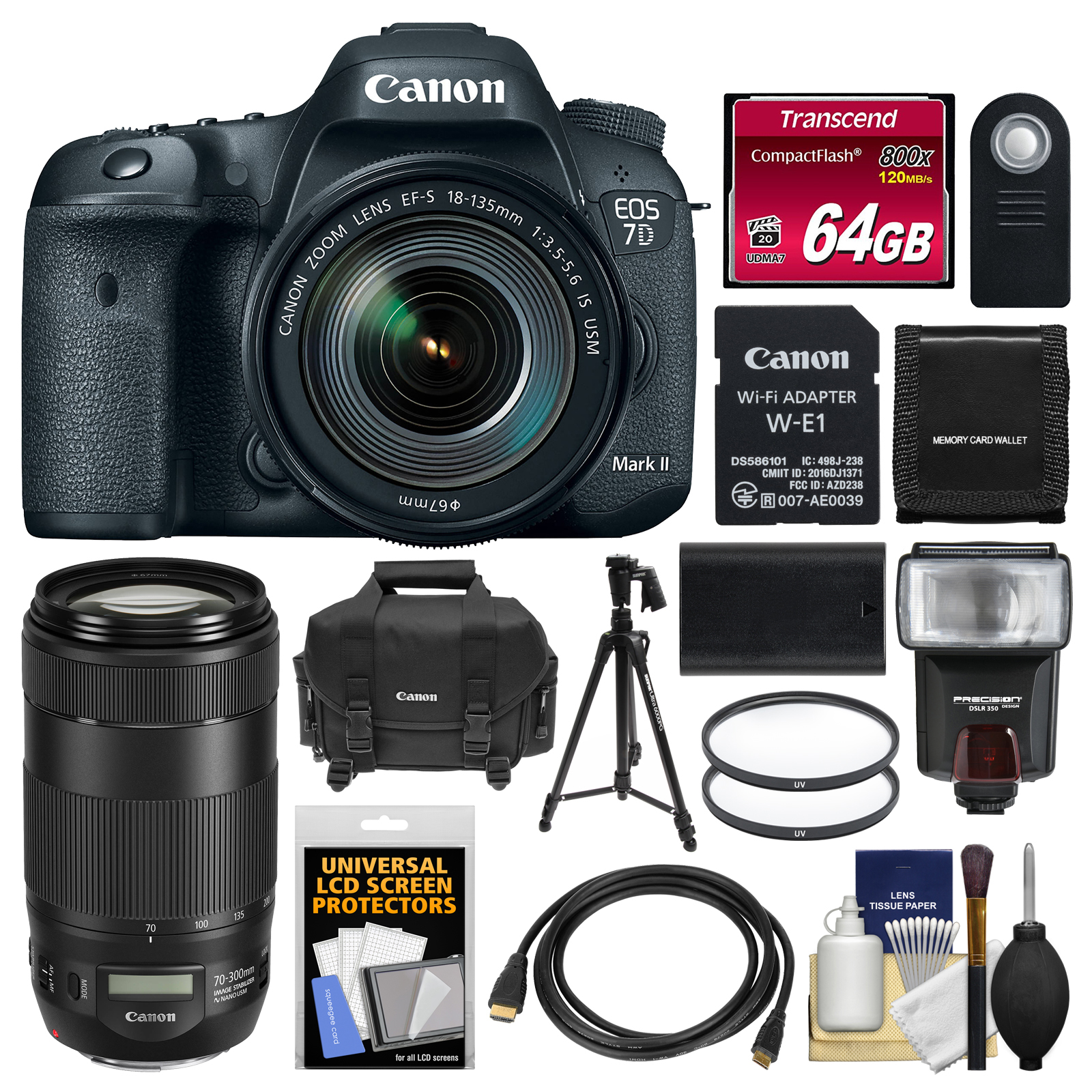 Canon EOS 7D Mark II Digital SLR Camera & 18-135mm IS USM & Wi-Fi Adapter with 70-300mm IS II Lens + 64GB Card... by Canon