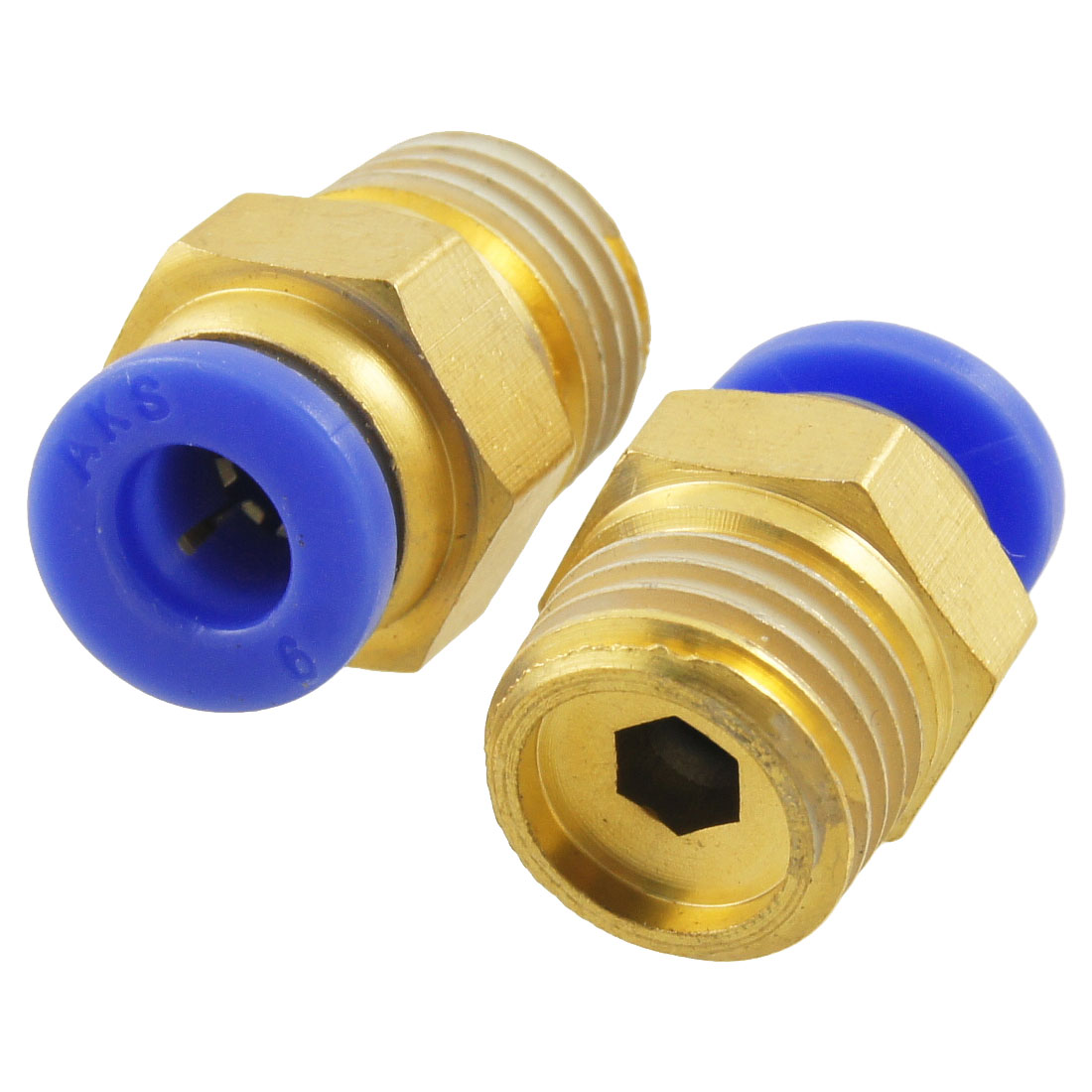 "Unique Bargains 1/4"" Male Thread to 6mm OD Tube Push In Quick Fittings 2pcs"
