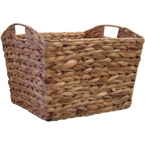 Neu Home Water Hyacinth Tapered Basket with Curved Cut-Out Handle