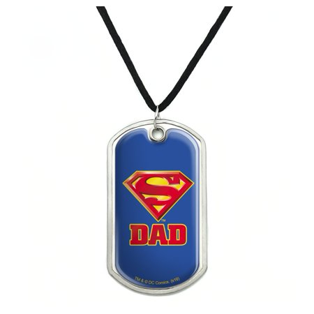 Superman Super Dad Shield Logo Military Dog Tag Pendant Necklace with Cord Military Dog Tag Necklace
