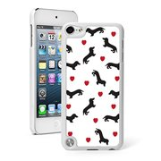 For Apple iPod Touch 5th / 6th Generation Hard Back Case Cover Dachshund Love Hearts Pattern (White)