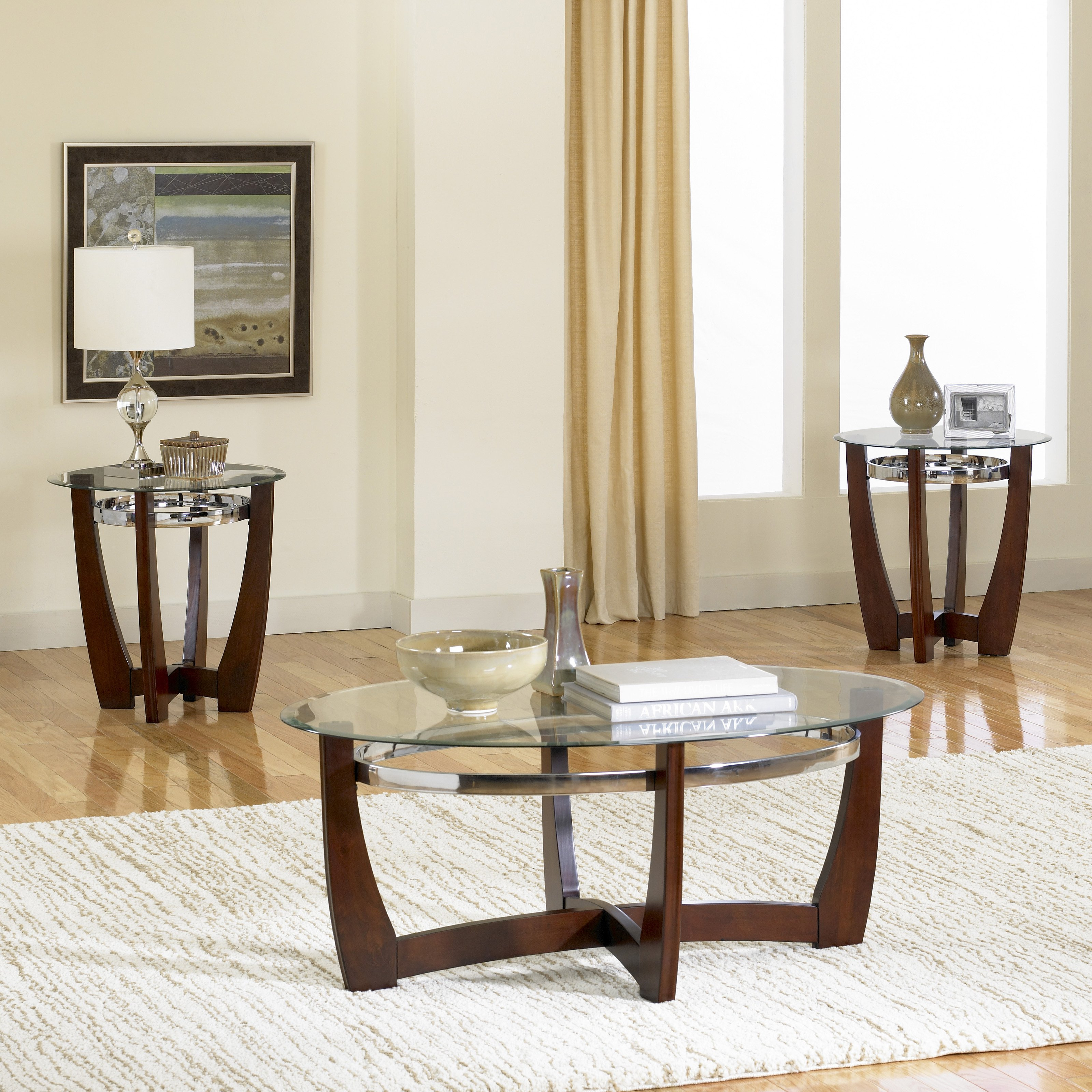 Coffee Table Set Of 3 Standard Furniture Apollo Oval Coffee Table With 2 End Tables