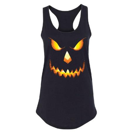 Jack O Lantern Face Women's Racerback Funny Halloween 2017 Shirt Black Small - Halloween Bts 2017