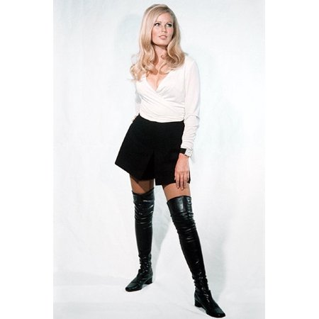 Veronica Carlson sexy Hammer Horror pin Up pose mini skirt long high heel boots 24x36 Poster