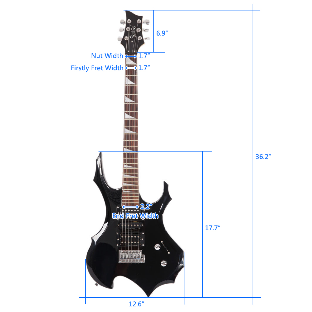 LAGRIMA Flame Shaped Electric Guitar with 20W Electric Guitar Sound HSH Pickup Novice Guitar Audio Bag Strap Picks Shake Cable Wrench Tool Black