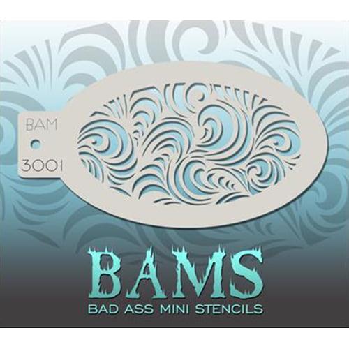 Bad Ass Modern Swirls Mini Stencil BAM3001