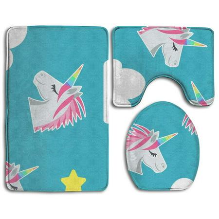 Pudmad Rainbow Unicorn Style 3 Piece Bathroom Rugs Set