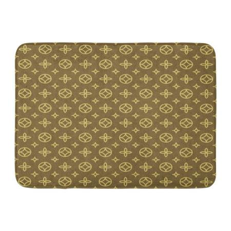 SIDONKU Vuitton Luxury Geometric Floral Pattern in Vintage Louis Pram Blossom Doormat Floor Rug Bath Mat 23.6x15.7