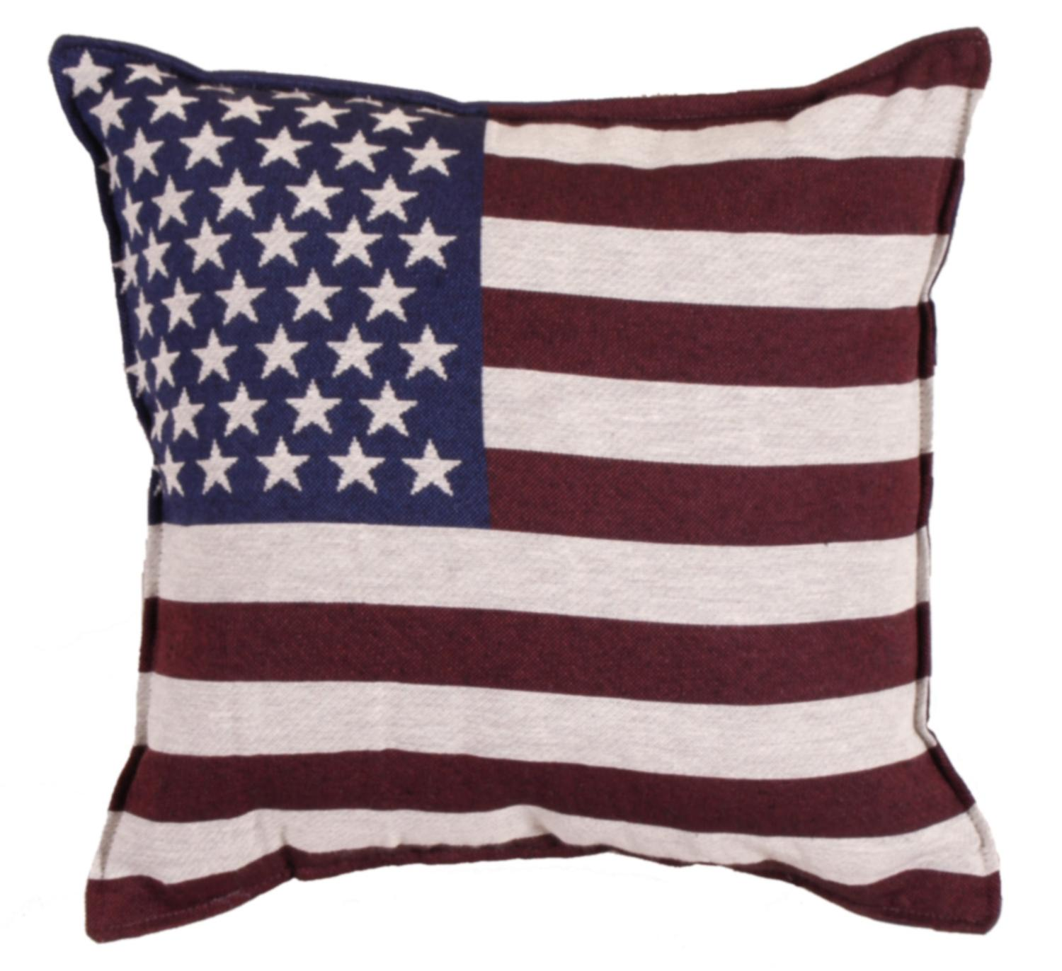 Set of 2 Patriotic United States Flag Square Decorative Tapestry Throw Pillows 17""