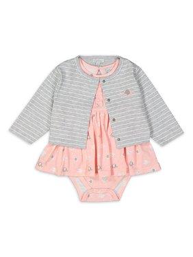 Quiltex Baby Girl Dress & Cardigan