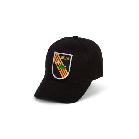 Delta Force Emblem Black Hook & Loop Adjustable Cap