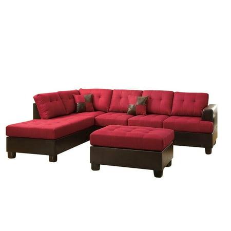 Poundex bobkona winden 3 piece reversible sectional sofa for Bobkona atlantic 2 piece sectional sofa