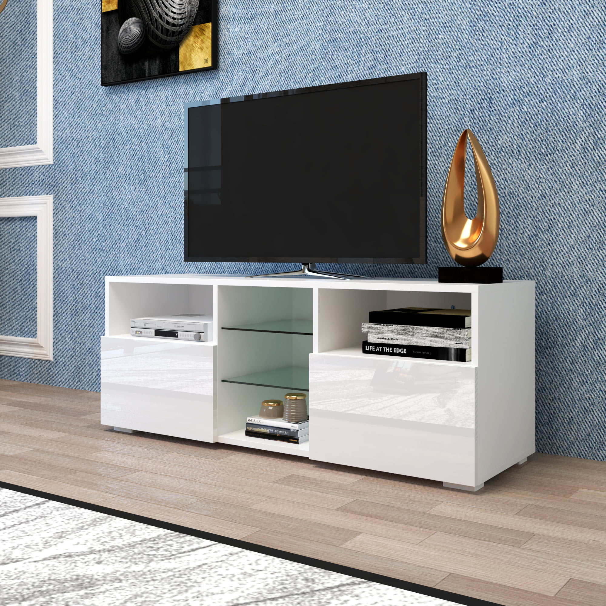 White Tv Stand For Living Room 12 Colors Led Tv Stand With Remote Control Lights Modern High Gloss Tv Cabinet With Storage And 2 Cabinets Media Console Cabinet Tv Stand For Living