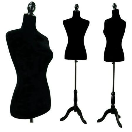 Ktaxon Black Female Mannequin Torso Dress Form Display W/ Black Tripod Stand Iron Dress Form