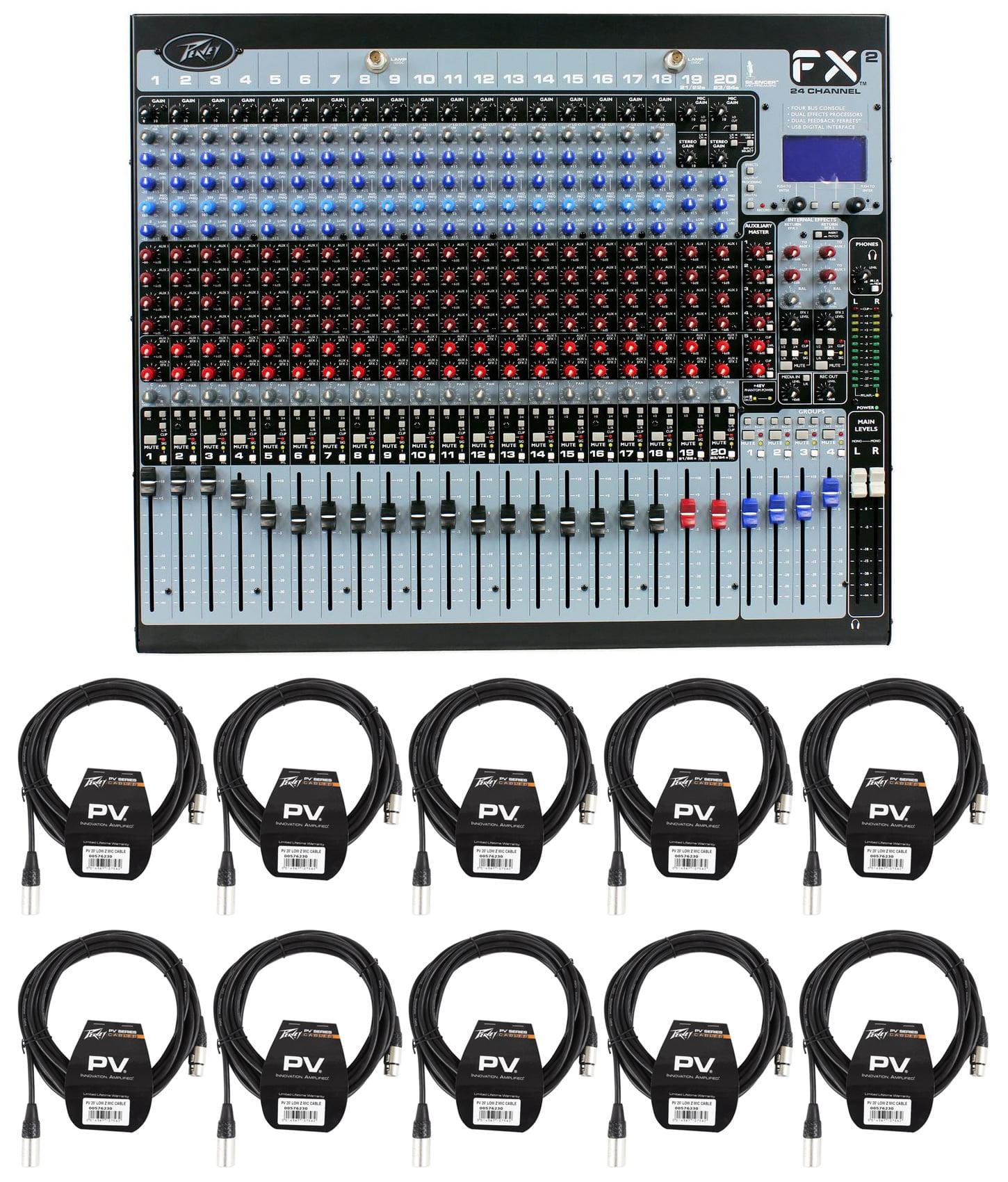 Peavey FX2 24 24x4x2 Mixer w  2 USB Ports + Dual DSP FX Engine + (10) XLR Cables by Peavey