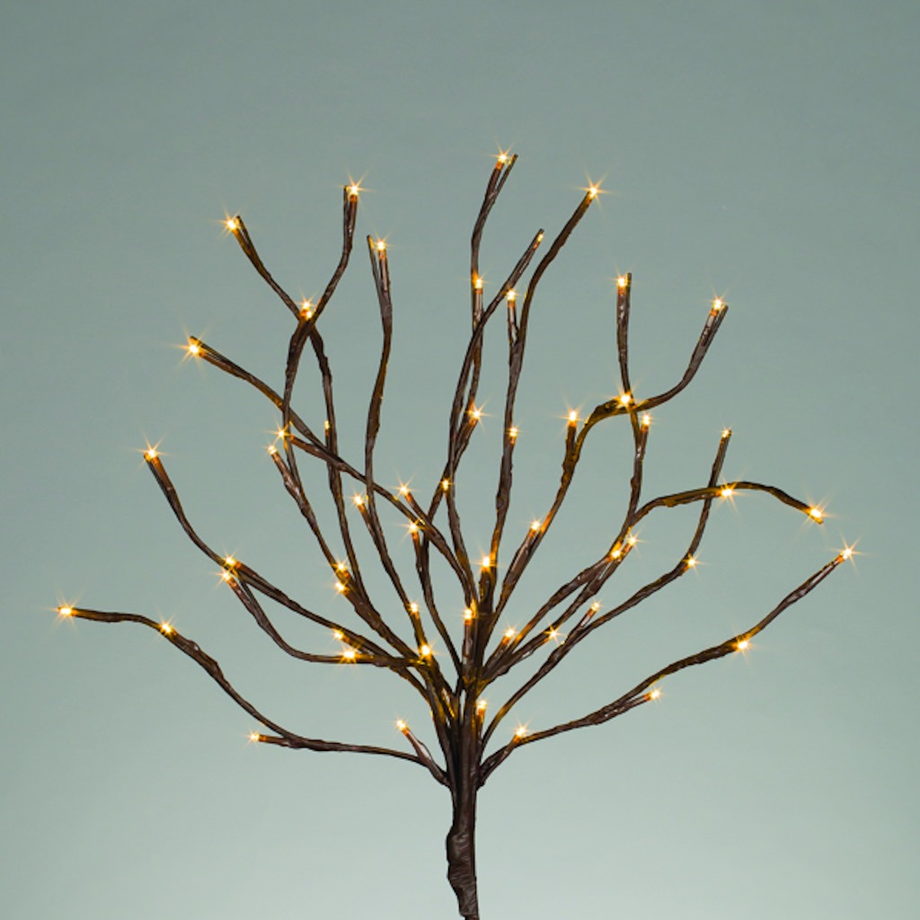 "Gerson 41657 - 20"" BROWN WRAPPED BRANCH 60 WW LEDS TIMER B/O OR ELECTRIC Battery Operated Willow Lighted Branches"