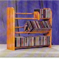 Wood Shed 301 Solid Oak 3 Row Dowel CD Rack