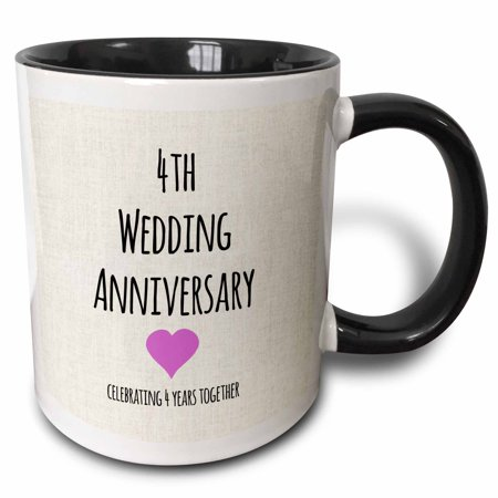 3dRose 4th Wedding Anniversary gift - Linen celebrating 4 years together fourth anniversaries four yrs - Two Tone Black Mug, (4th Year Wedding Anniversary Gift Ideas For Her)