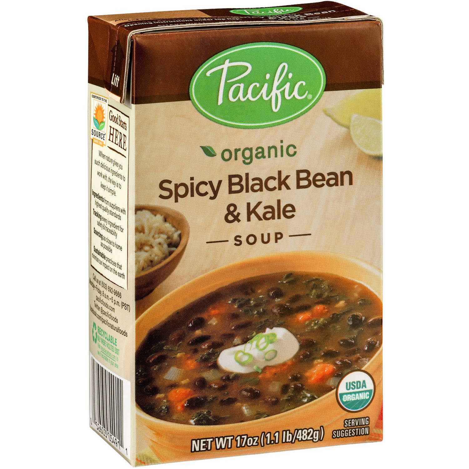 Pacific Organic Spicy Black Bean & Kale Soup, 17 oz, (Pack of 12)