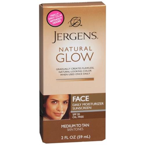 Jergens Natural Glow Daily Facial Moisturizer SPF 20, Medium To Tan Skin Tones 2 oz (Pack of 4)