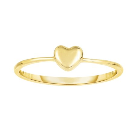 14k Yellow Gold 4-1.4mm Shiny Square Tube Puff Heart Top Fancy Ring - .9 Grams - Size