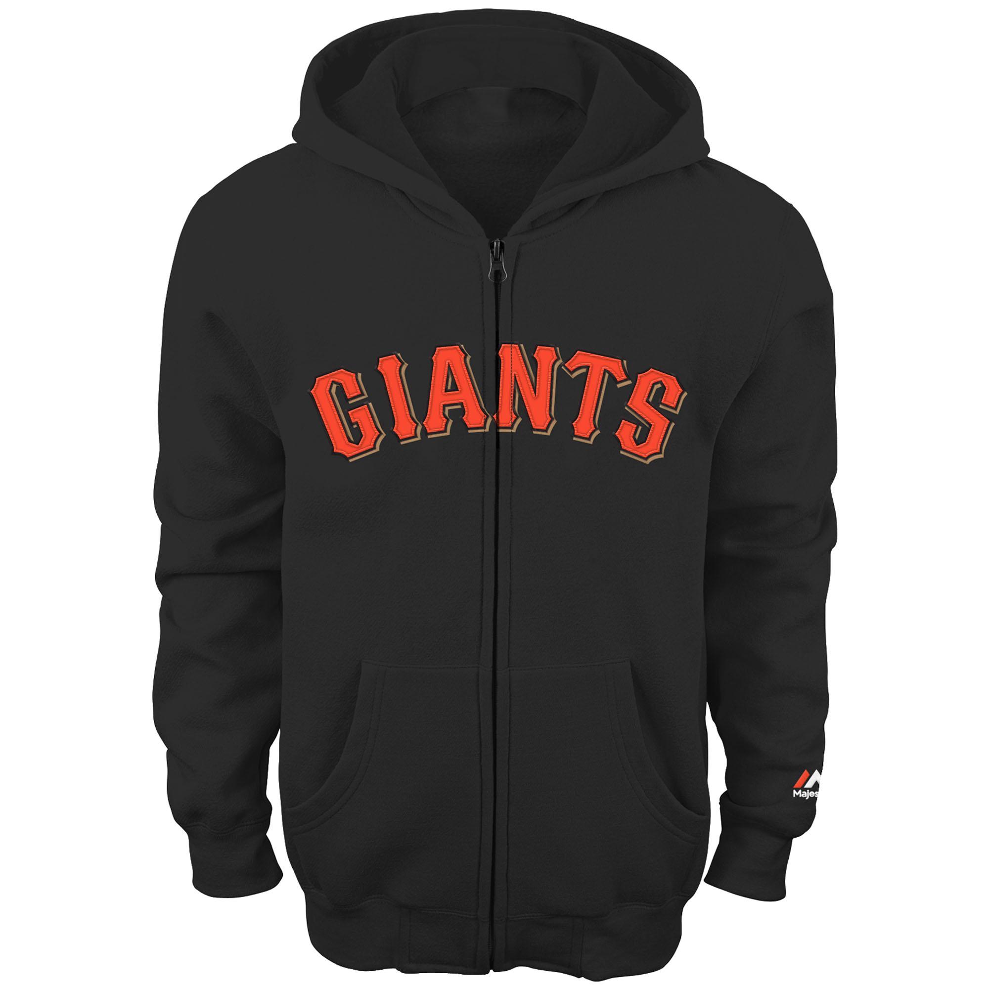 San Francisco Giants Majestic Youth Team Wordmark Full-Zip Hoodie - Black