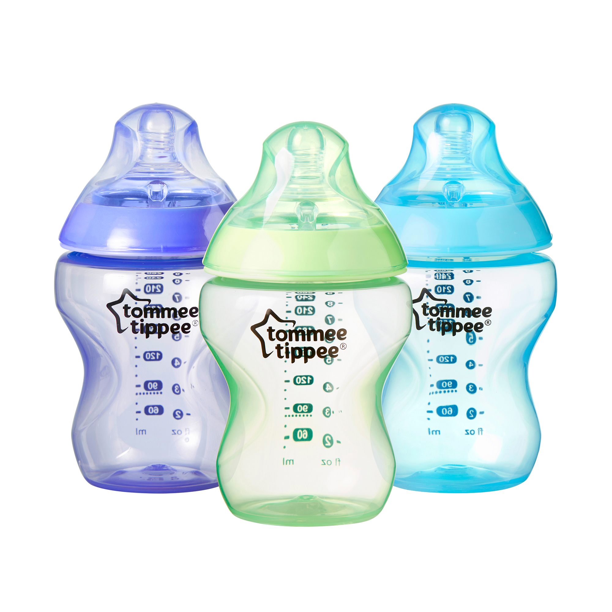 Tommee Tippee Closer to Nature Color My World 9-oz Baby Bottles, BPA-Free, 3pk, Boy