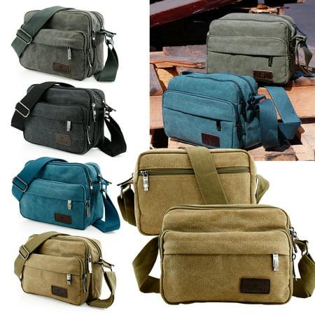 Men Vintage Crossbody Canvas Messenger Shoulder Bag School Hiking Military Travel