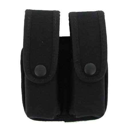 Uncle Mikes Fitted Handgun Magazine Case Divided with Flaps, Double Row, Nylon Black